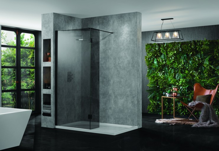 Wetroom 10Hinged Returnsmokedblack