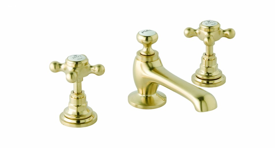 CTA025BG 3H Deck Basin Mixer Cross Brushed Gold